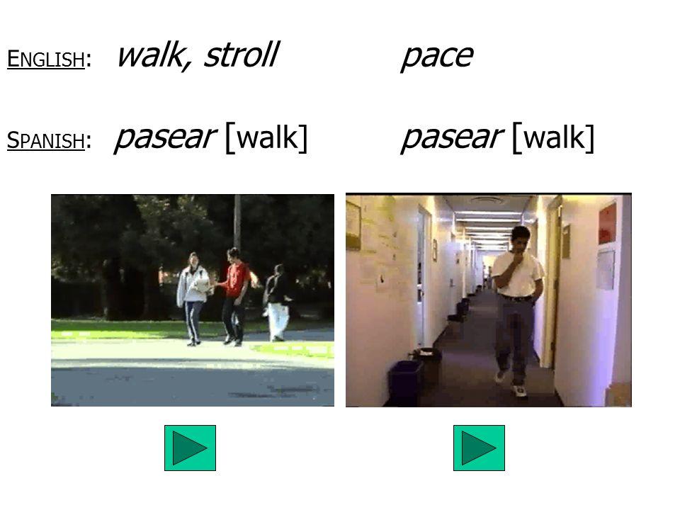 ENGLISH: walk, stroll pace SPANISH: pasear [walk] pasear [walk]